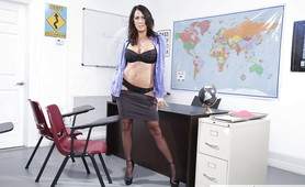 Hot Busty Professor with Sexy Stockings and Lingerie