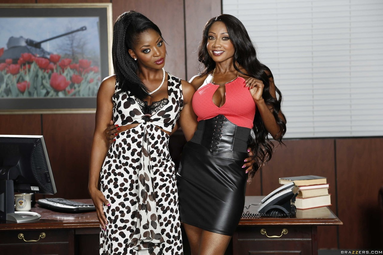 Two Ebony Secretaries are Bored in the Office - Lesbian