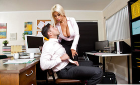 Blonde Spanish Bombshell Chief Bridgette B Fucks Young Man at Work
