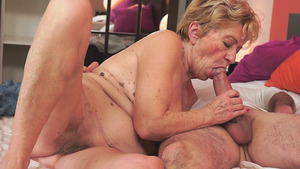 Dirty Grandma Still Needs Hard Cock inside her Hungry Mouth