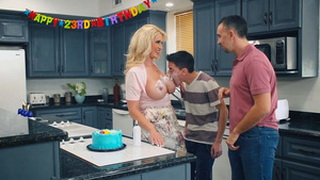 Busty Hot Mom Wishes to Her Stepson Happy B-day!