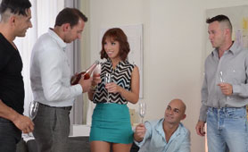 They Make a Toast Before Starts Destroying Redhead Milf