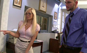 The Boss Likes to Use a Smart Lunch Break - Hard Cock Destroys Hot Blonde Bosses Pussy