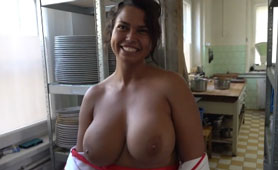 Lucky Dude Funds That Pair Of Magical Natural Big Czech Boobs in the Kitchen of the Local Restaurant
